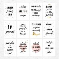Komplet 12-ih motivacijskih kartic z lesenim podstavkom v slovenščini
