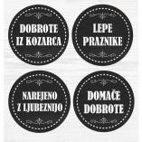 Darilne črne nalepke okrogle - različni napisi